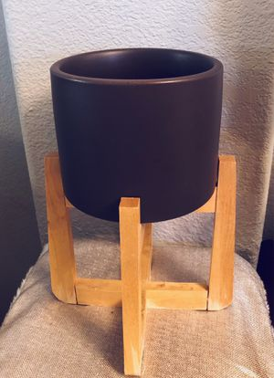 "6"" Black Ceramic Planter Pot with Wood Plant Stand for Sale in Tempe, AZ"