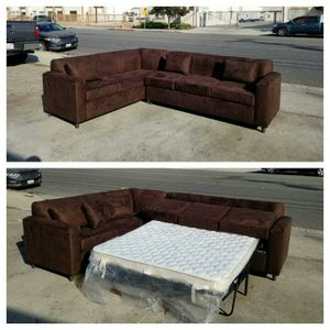 NEW 7X9FT DARK BROWN MICROFIBER SECTIONAL WITH SLEEPER COUCHES for Sale in San Diego, CA