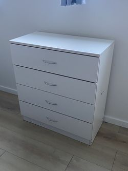 White Small Short Dresser Chest 4 Drawers Silver Handles 3 Available Night Stand for Sale in Los Angeles,  CA