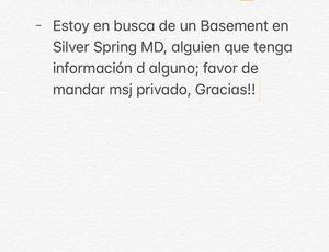 Busco Basement d dos cuartos en Silver Spring for Sale in Silver Spring, MD