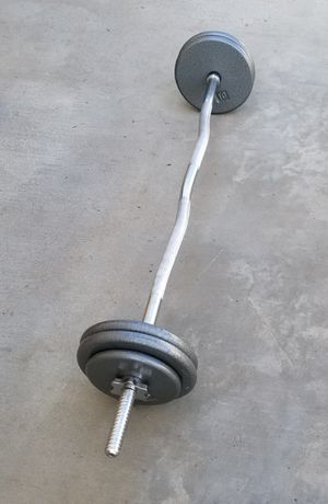 50 Pounds + Curl Bar for Sale in Perris, CA