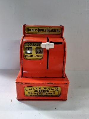 Antique vintage working metal coin bank uncle sams 3 coin register for Sale in Bethlehem, PA