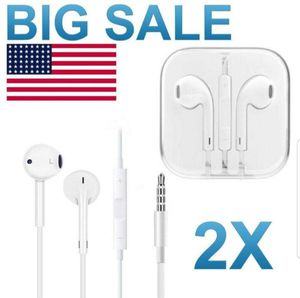 2 Pack iPad iPhone Headphones Earbuds Earphones for 4 5 6 7 8 X XS 11 Mic & Volume for Sale in San Leandro, CA