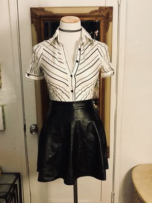 Zara button up and faux leather skater skirt for Sale in San Diego, CA