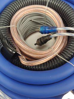 Amp Kit : BLAUPUNKT 0 Gauge wire kit 5000 watts 17 ft blue power, speaker wire 17 ft rca jack ANL 150a fuse for Sale in Lynwood,  CA