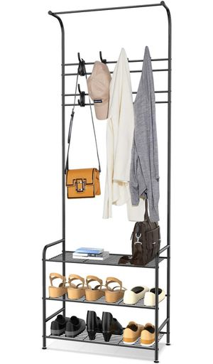 alvorog Entryway Coat Rack Shoe Bench, 3-in-1 Hall Tree, 3-Tier Storage Shelves with 16 Hooks Multifunctional Hallway Organizer, Easy Assembly (Black) for Sale in Queens, NY