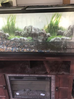 50/55 gallon fish tank with fireplace stand for Sale in Waynesville, MO
