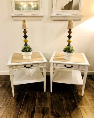 Vintage MCM White Shabby Night Stands/Side Tables, Marble Tops! Made in Portugal for Sale in Queen Creek, AZ