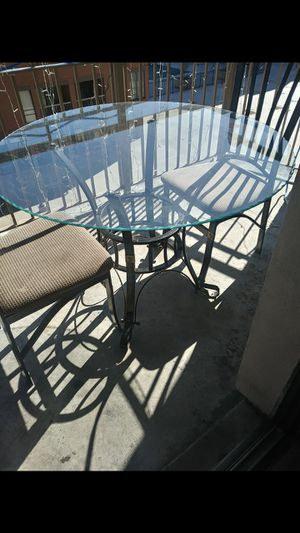 GLASS ROUND DINNING TABLE WITH 4 CHAIRS for Sale in Fairfax, VA