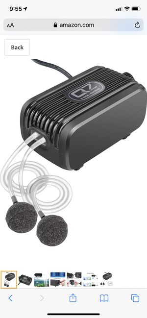 IREENUO Aquarium Air Pump, 3W Fish Tank Oxygen Pump for Fresh & Salt Water, 240 GAL/H Outlets with 2 Large Displacement Air Bubbler Stones for Sale in Irving, TX