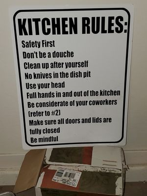 Custom kitchen rules sign. (8inch knife in photo for scale, not sale) for Sale in Buckeye, AZ