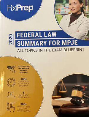RxPrep Federal Law MPJE Book for Sale in Cumberland, RI