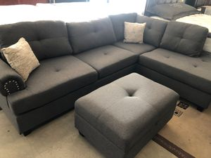 Sale new set of sofa 3 pc sectional grey ottoman included free delivery 🚚 for Sale in Delano, CA