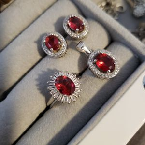 (Make an offer).925 Silver & Ruby Stone Pendant Set With Ring for Sale in Arlington, VA