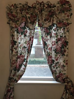 Waverly curtains - Pleasant Valley pattern - 3 sets available w/valances - curtains are each 40x84 inches for sale  size. $25 each set, incl. valance. Also for Sale