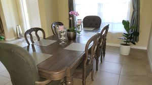Grey Bernhardt dining room table with 6 chairs and leaf extension for Sale in Homestead, FL