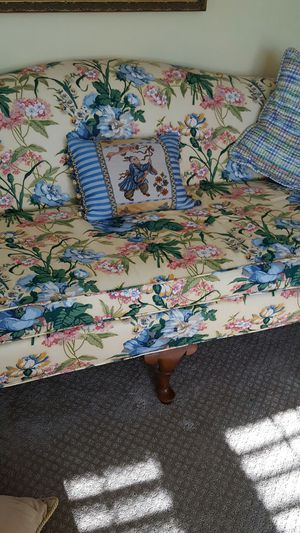 Couch and professional made valances pet free and smoke free home for Sale in Powersville, GA