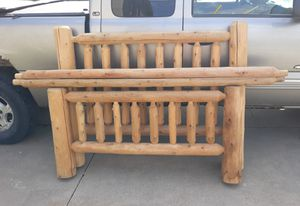 Hand carved log bed frame (Queen) for Sale in Kaukauna, WI