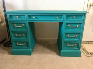 Real wood desk with 8 drawers for Sale in Purcellville, VA