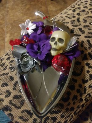 4.5 x 9 silver leaf decorated with skull for Sale in Mesa, AZ
