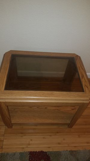 Wooden table with glass top for Sale in Tracy, CA