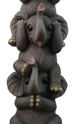 See No Evil Pachyderms - Stacking Baby Elephants See Hear Speak No Evil Decorative Collectible Figurine Statue Safari Wildlife for Sale in Pompano Beach,  FL