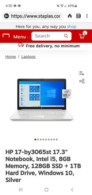 """425$HP 17-by3065st 17.3"""" Notebook, Intel i5, 8GB Memory, 128GB SSD + 1TB Hard Drive, Windows 10, Silver for Sale in Houston, TX"""
