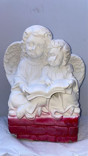 "DISCOUNTED!Take us home with you!! TWO 12"" CHERUBS ANGELS READING ON A BRICK WALL!!! 12Solid Stone Cherub Angel statue sculpture Put it in the d for Sale in Los Angeles, CA"