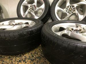 4 17 in 5x100 5x114.3 wheels rims and tires. Enkei sportline for Sale in Germantown, MD
