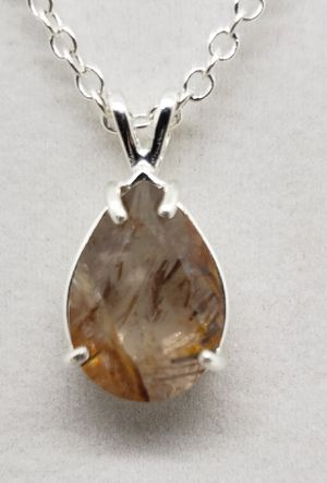 Natural 16x12mm Pear Rutilated Quartz Necklace for Sale in Justin, TX