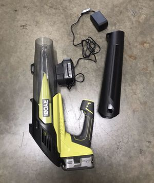 RYOBI ONE+ 100 MPH 280 CFM Variable-Speed 18-Volt Lithium-Ion Cordless Jet Fan Leaf Blower 4Ah Battery and Charger Included for Sale in Temple City, CA