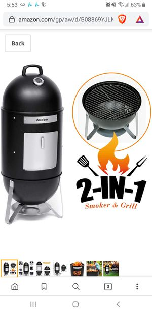 New in sealed box, Charcoal Smoker Grill Outdoor, 18'' Smokey Mountain Cooker Meat Smoker with Heat Control/ 2 Cooking Racks for Sale in Tustin, CA