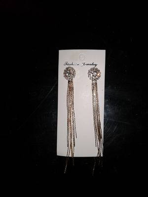 brand new CZ diamond long exaggerated temerapment round tassel earrings for Sale in St. Louis, MO
