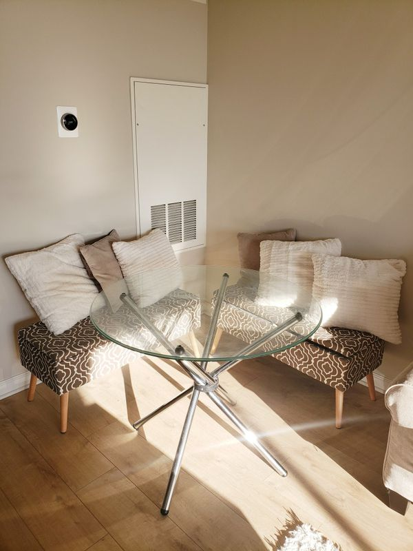 Round Glass Table Top and Stainless Steel Base