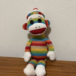 TY Socks the Sock Monkey Rainbow Striped Plush Beanie No Tag for Sale in San Leandro, CA