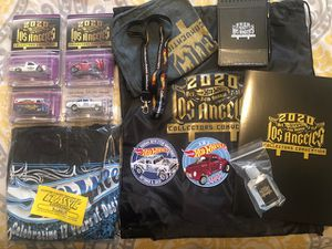NEW HOT WHEELS 2020 LA CONVENTION EXPERIENCE PACKAGE IINCLUDES 4 CARS, DINNER T-SHIRT, 2 PATCHES & CONVENTION SWAG BAG for Sale in Montclair, CA