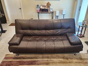 Leather futon sofa for Sale in Pompano Beach, FL