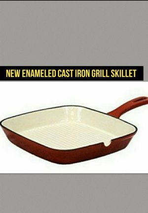 Enameled Cast Iron Pan Grill Skillet Square Red for Sale in Kansas City, MO