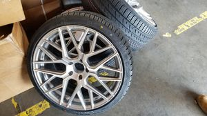 """20"""" new silver rims rims tires set for Sale in Hayward, CA"""