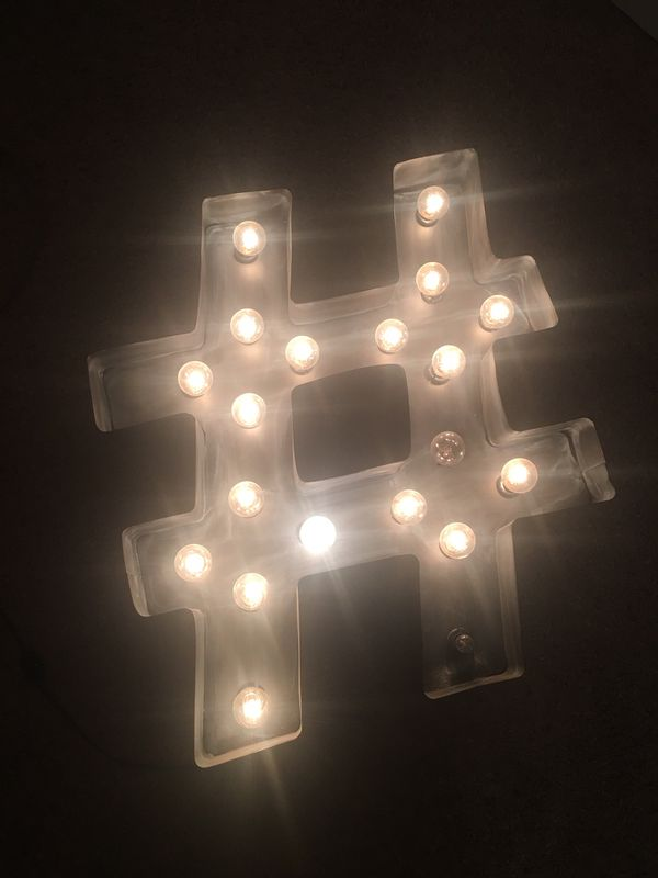 Large Hashtag Sign Wall Light