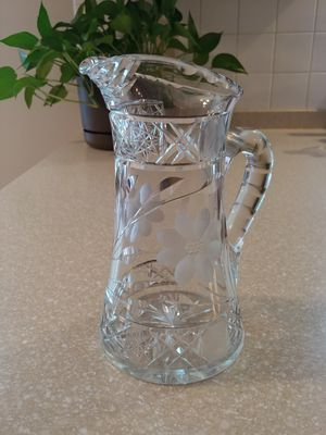 Vintage frosted etched glass flower design pitcher/vase for Sale in Wakefield, RI