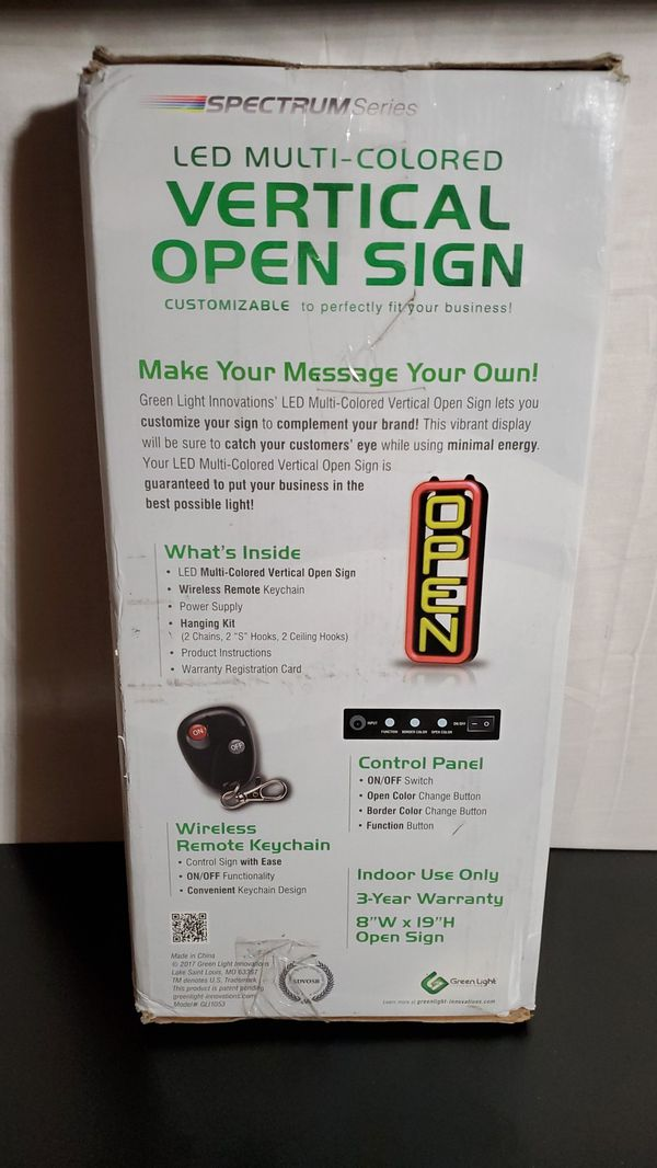 Green light Innovations Spectrum vertical open sign 7 in by 18 in for Sale  in Peoria, IL - OfferUp