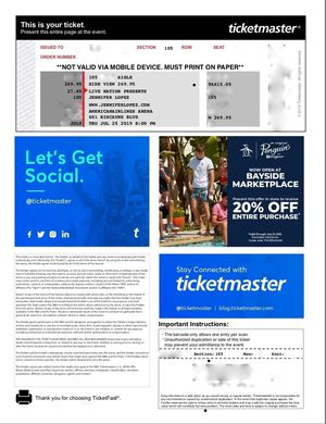 JENNIFER LOPEZ TICKETS for Sale in Hialeah, FL