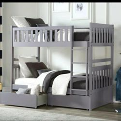Orion Gray Twin/Twin Bunk Bed With Trundle Or Storage Boxes for Sale in Silver Spring,  MD