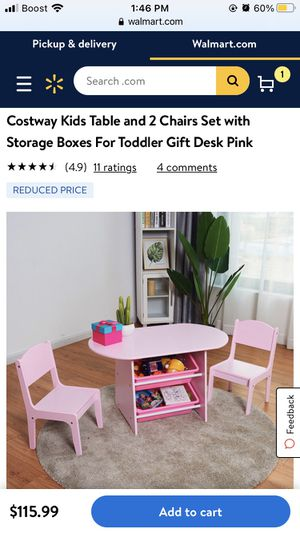 Costway Kids Table and 2 Chairs Set with Storage Boxes For Toddler Gift Desk Pink for Sale in Los Angeles, CA