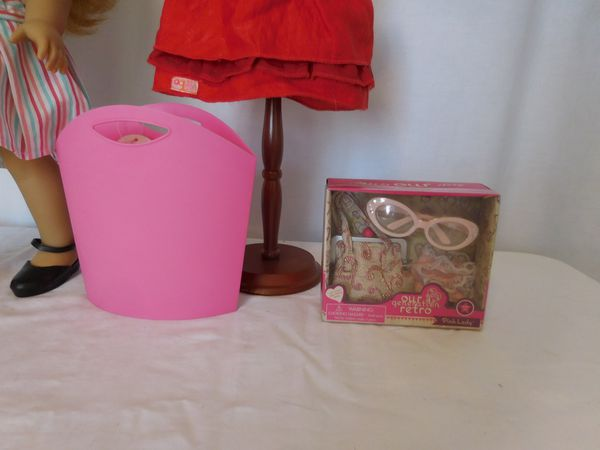 American Girl 18 In. Doll Maryellen Larkin Beforever , not original shoes, + Tote + Red Dress + Purse and Glass set new