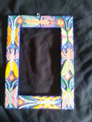 HAND CARVED WOODEN PICTURE FRAM FRO OAXACA MEXICO for Sale in Phoenix, AZ