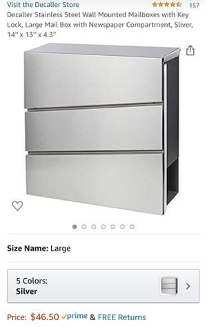 Decaller Stainless Steel Wall Mounted Mailboxes with Key Lock for Sale in Shavano Park, TX