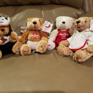 Hard Rock Cafe Collectible Teddy Bears (4) for Sale in Des Plaines, IL