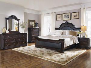 5 piece solid wood queen bedroom set queen bed frame dresser and nightstand for Sale in North Highlands, CA